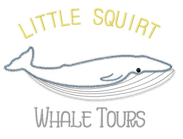 Whale Tours Zig Zag and Vintage Stitch Applique Machine Embroidery Design