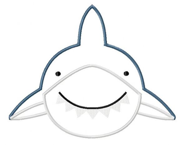 Shark 2 Satin and Zig Zag Applique Machine Embroidery Design