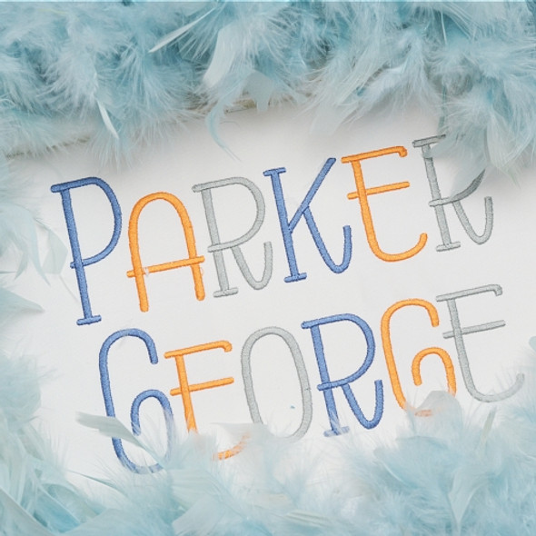 Parker Embroidery Font
