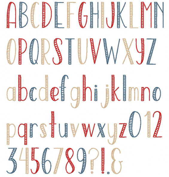 Open Sea Embroidery Font