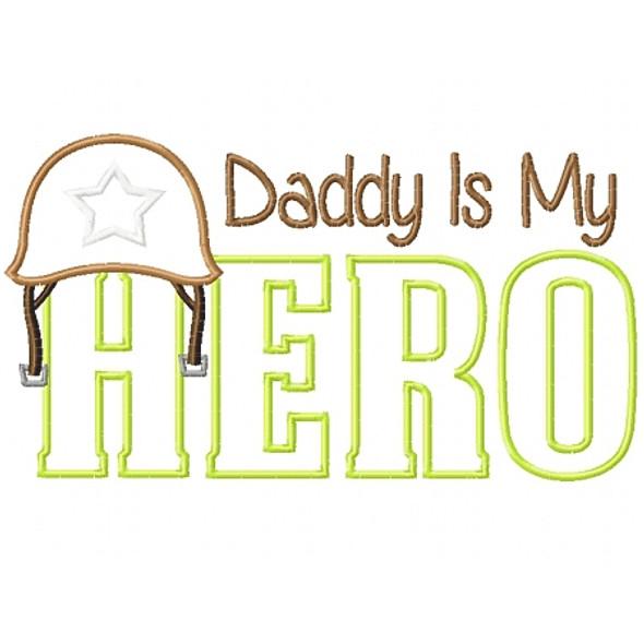 Army Dad Hero Satin and Zigzag Machine Embroidery Design