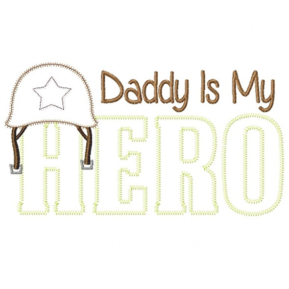 Army Dad Hero Satin and Zigzag