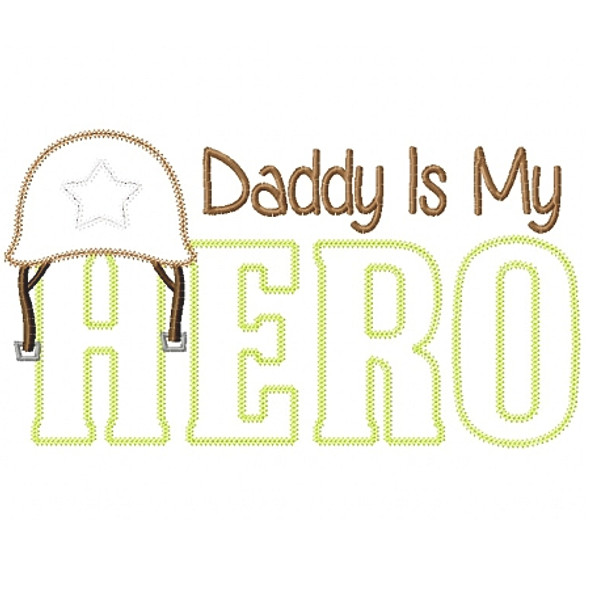 Army Dad Hero Vintage and Blanket Stitch Applique Machine Embroidery Design