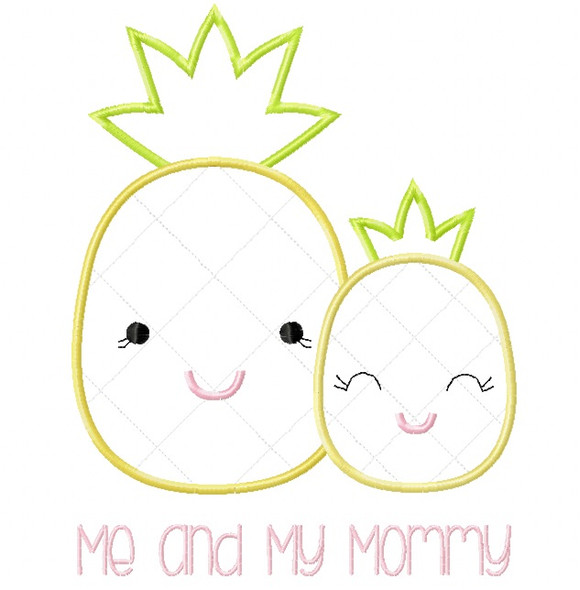 Me and Mommy Pineapple Satin and Zigzag Stitch Applique Machine Embroidery Design