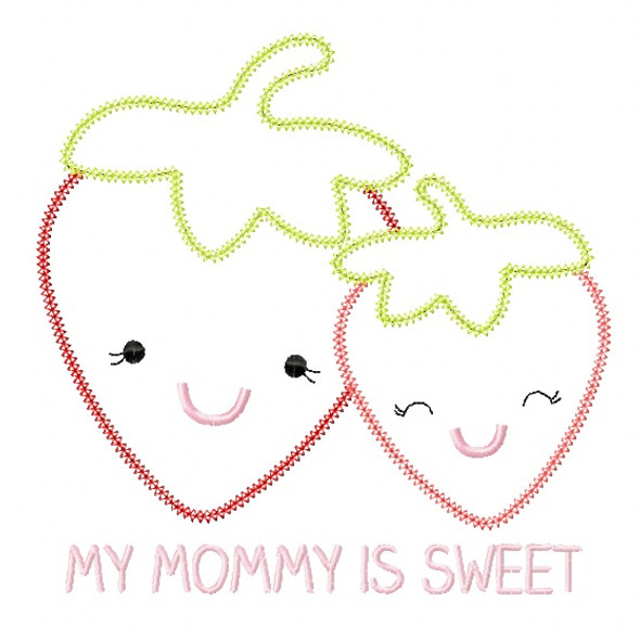 Strawberry Mom and Baby Vintage and Blanket Stitch Applique Machine Embroidery Design