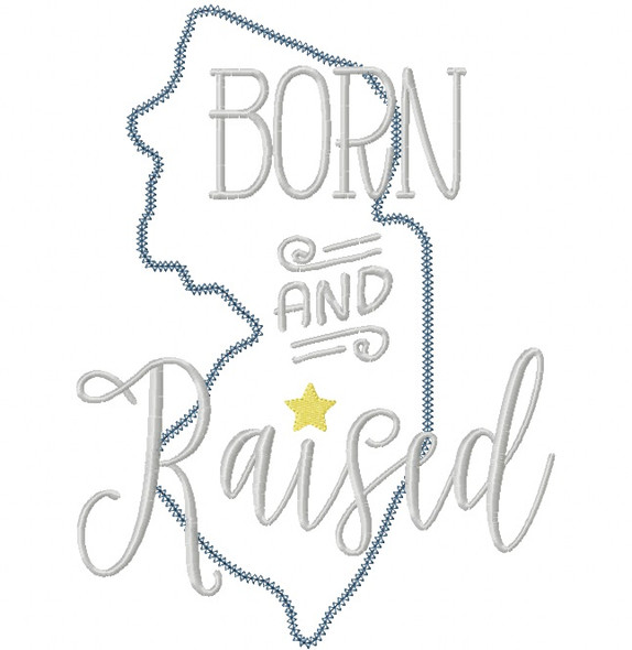 New Jersey Born and Raised Vintage and Blanket Stitch Applique Machine Embroidery Design