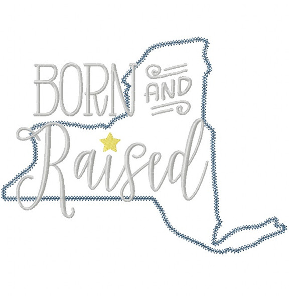 New York Born and Raised Vintage and Blanket Stitch Applique Machine Embroidery Design