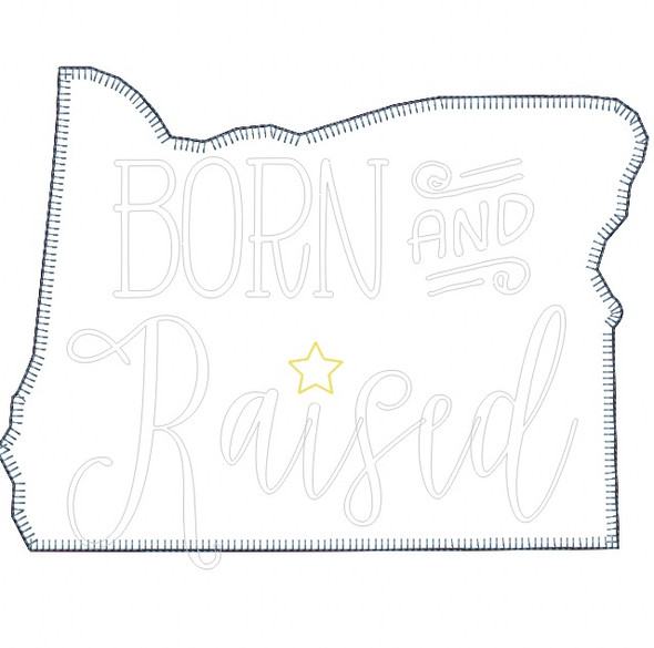 Oregon Born and Raised Vintage and Blanket Stitch Applique