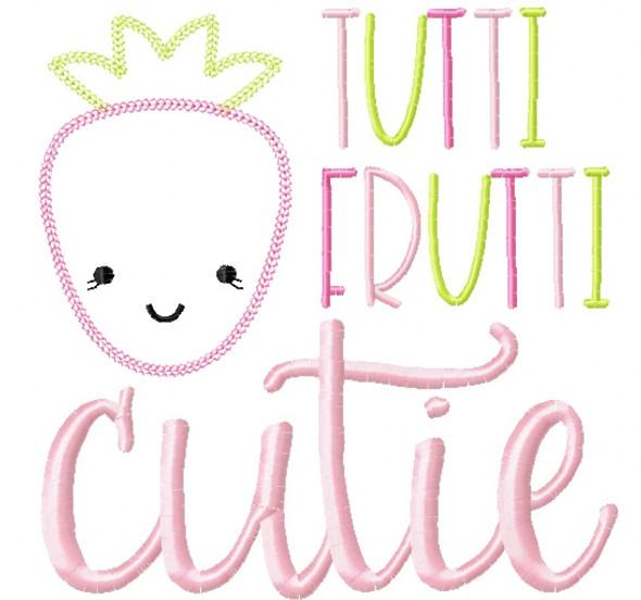 Tutti Frutti Strawberry Vintage and Chain Stitch Applique