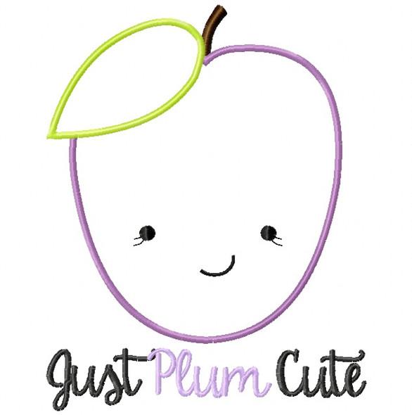 Just Plum Cute Satin and Zigzag Stitch Applique Machine Embroidery Design