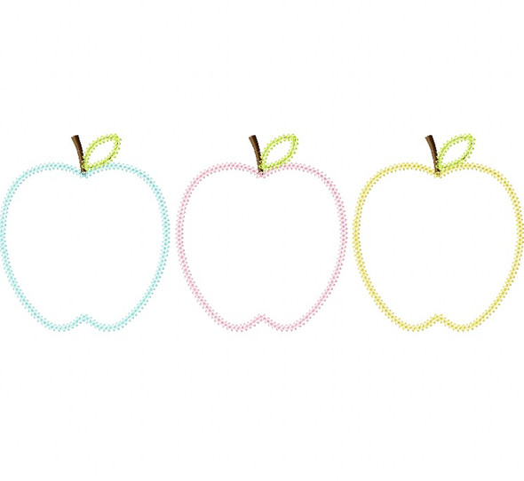 Apples Vintage and Blanket Stitch Applique Machine Embroidery Design