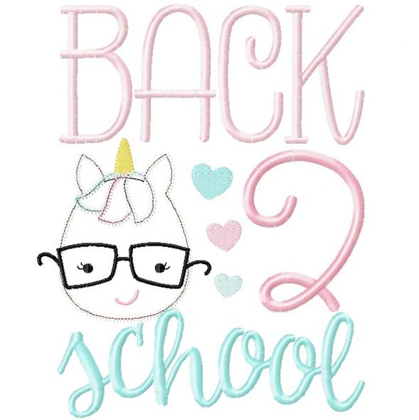 Back 2 School Unicorn Satin and Zigzag Stitch Applique