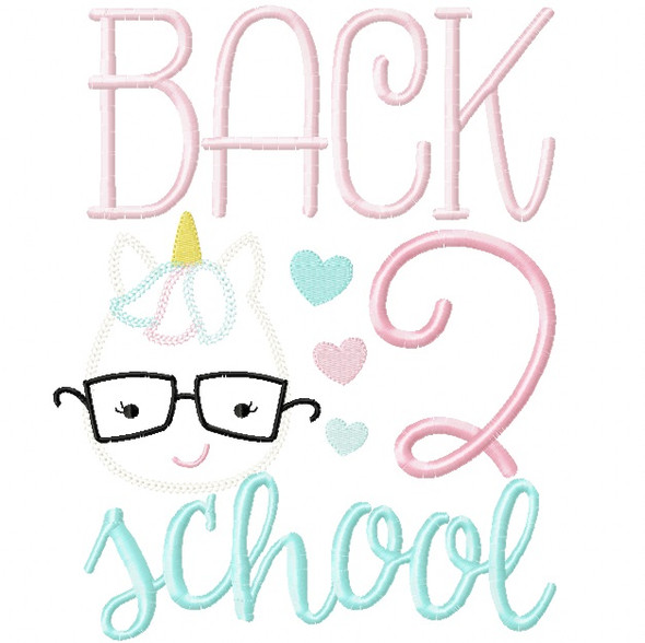 Back 2 School Unicorn Vintage and Chain Stitch Applique
