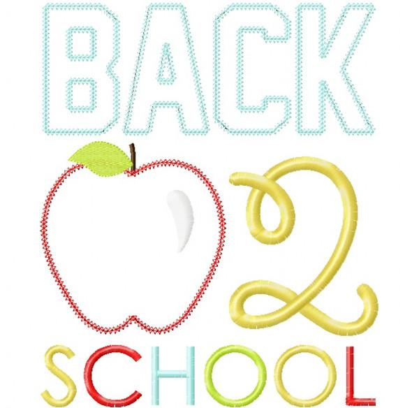 Back 2 School Apple Vintage and Chain Stitch Applique