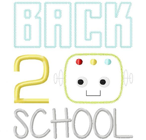 Back 2 School Robot Vintage and Chain Stitch Applique