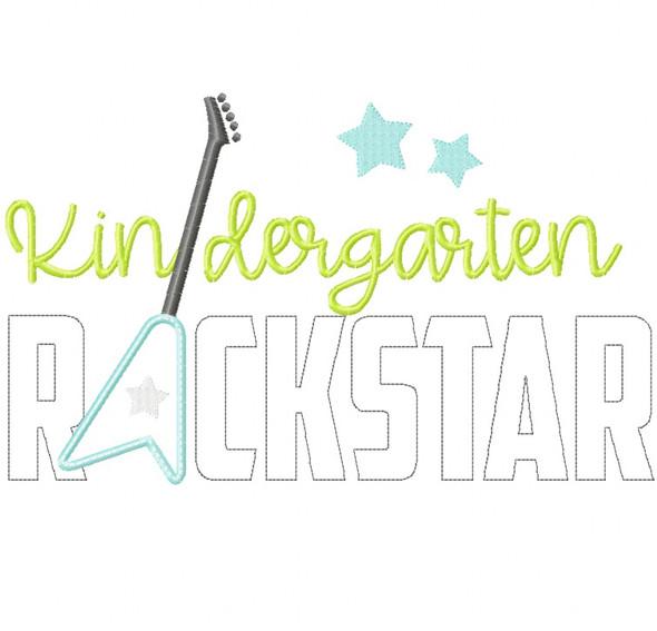 Kindergarten Rockstar Satin and Zigzag Stitch Applique