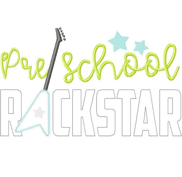 Preschool Rockstar Vintage and Chain Stitch Applique