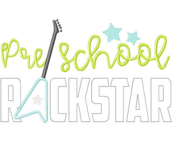 Preschool Rockstar Satin and Zigzag Stitch Applique