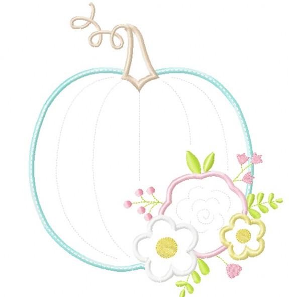Floral Pumpkin Satin and Zigzag Stitch Applique Machine Embroidery Design
