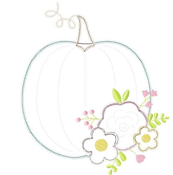 Floral Pumpkin Satin and Zigzag Stitch Applique