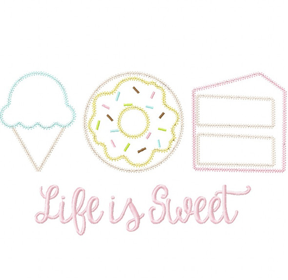 Life is Sweet Vintage and Chain Stitch Applique Machine Embroidery Design