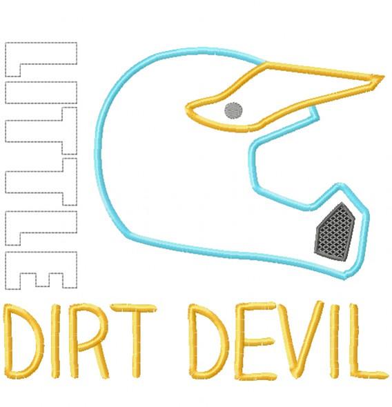 Little Dirt Devil Satin and Zigzag Stitch Applique