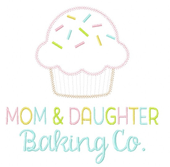 Mom and Daughter Baking Co. Vintage and Chain Stitch Applique Machine Embroidery Design