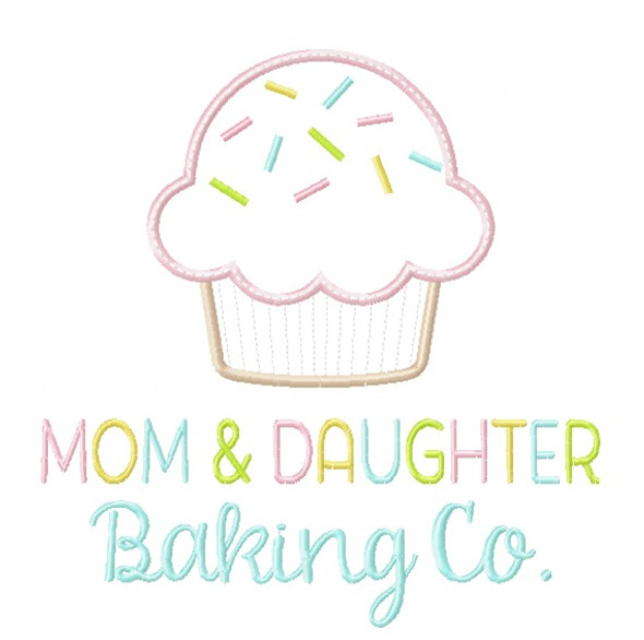 Mom and Daughter Baking Co. Satin and Zigzag Stitch Applique Machine Embroidery Design