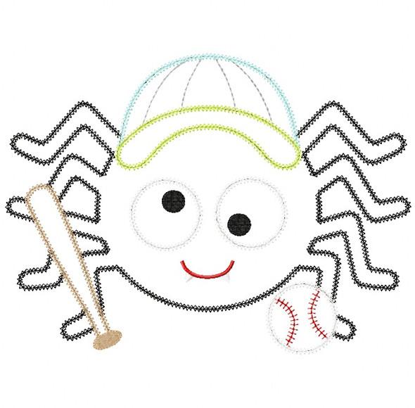 Baseball Spider Vintage and Chain Stitch Applique Machine Embroidery Design