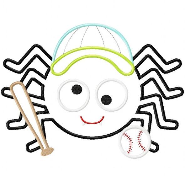 Baseball Spider Satin and Zigzag Stitch Applique Machine Embroidery Design