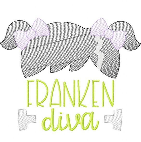 Franken Diva Sketch Embroidery