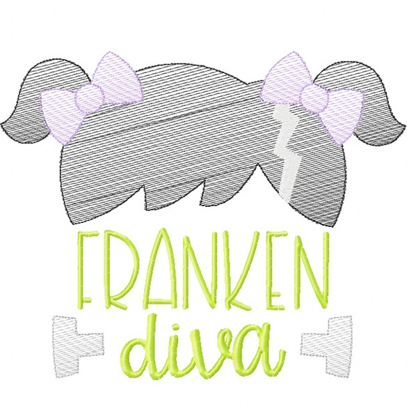 Franken Diva Sketch Embroidery Machine Embroidery Design