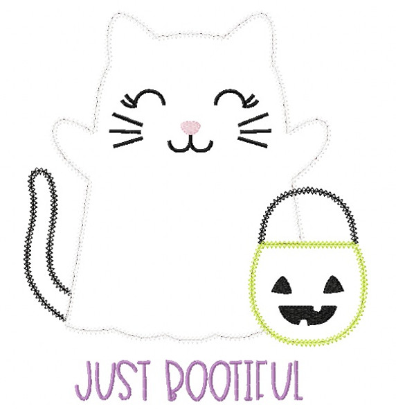 Ghost Kitty Vintage and Chain Stitch Applique