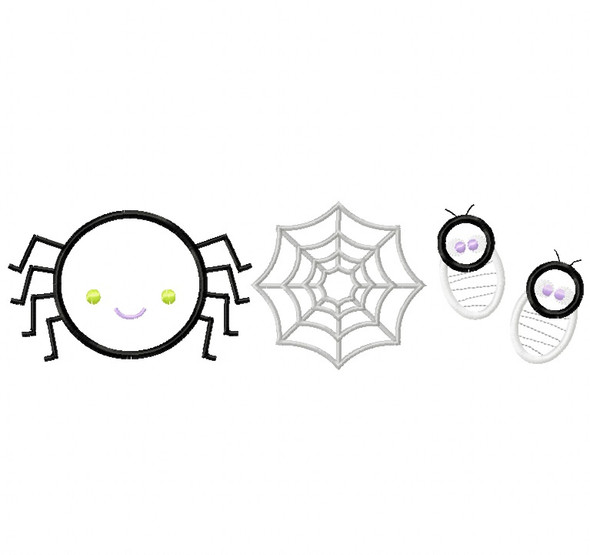 Spider Set Satin and Zigzag Stitch Applique