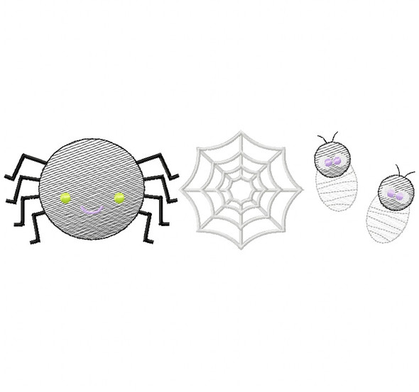 Spider Set Sketch Embroidery