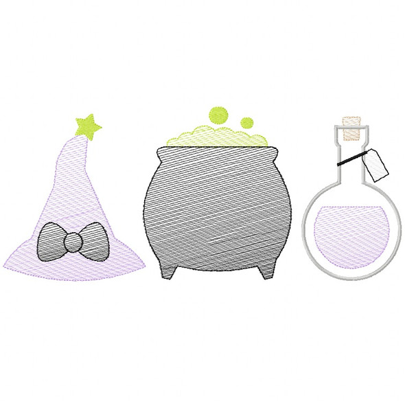 Witch Set Sketch Embroidery Machine Embroidery Design