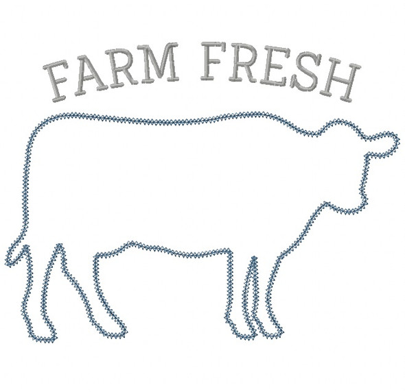 Cow Silhouette Vintage and Chain Stitch Applique Machine Embroidery Design