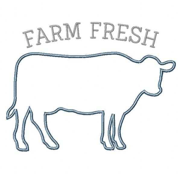 Cow Silhouette Satin and Zigzag Stitch Applique Machine Embroidery Design