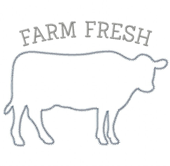 Cow Silhouette Satin and Zigzag Stitch Applique