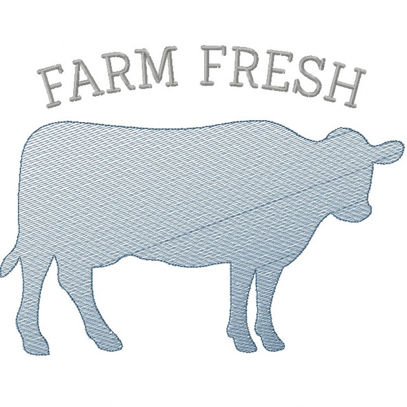 Cow Silhouette Sketch Embroidery Machine Embroidery Design
