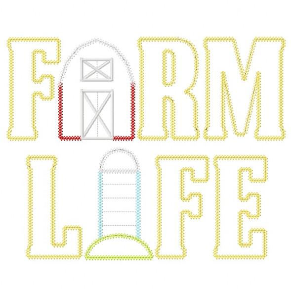 Farm Life 2 Vintage and Chain Stitch Applique Machine Embroidery Design