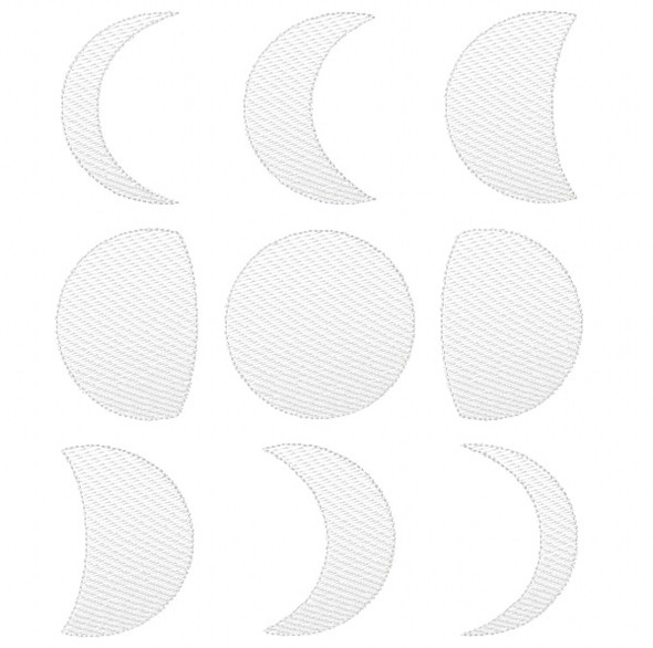 Moon Phases Sketch Embroidery Machine Embroidery Design