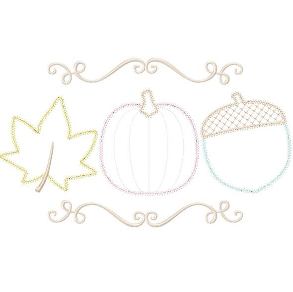 Pumpkin Leaf and Acorn Vintage and Chain Stitch Applique Machine Embroidery Design
