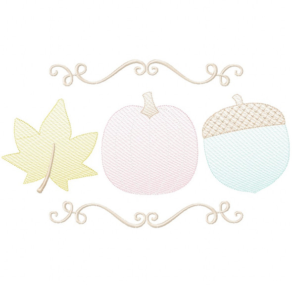 Pumpkin Leaf and Acorn Sketch Embroidery Machine Embroidery Design