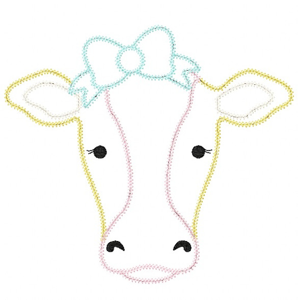 Sweet Cow Vintage and Chain Stitch Applique Machine Embroidery Design
