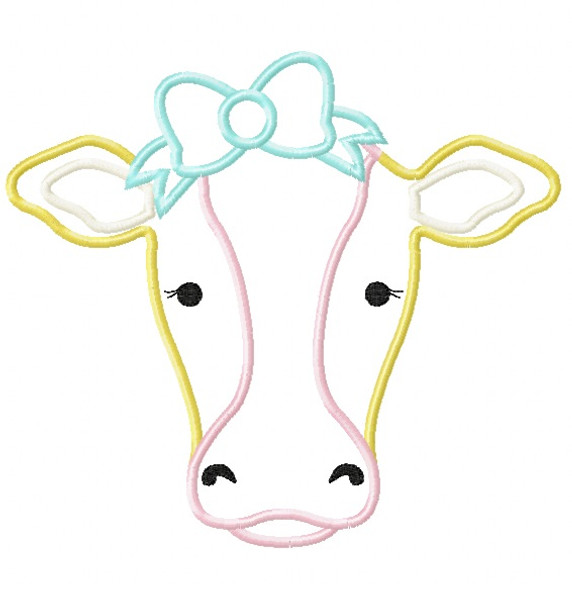 Sweet Cow Satin and Zigzag Stitch Applique Machine Embroidery Design