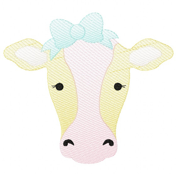 Sweet Cow Sketch Embroidery