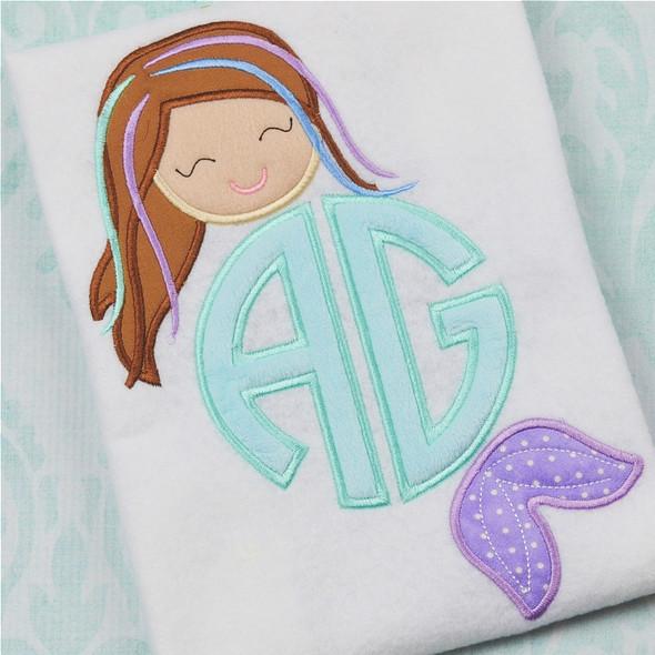 Mermaid Monogram Alpha Machine Embroidery Design