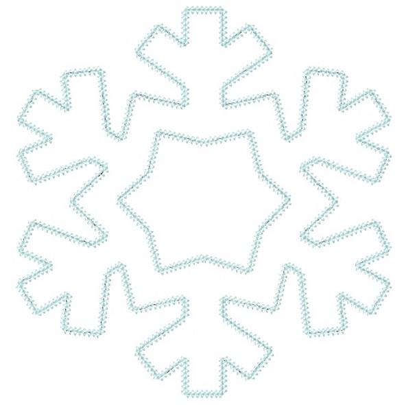 Snowflake 2 Vintage and Chain Stitch Applique Machine Embroidery Design