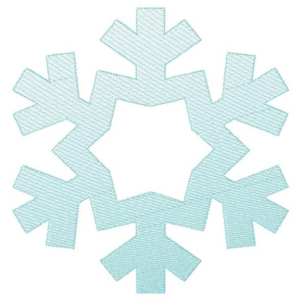 Snowflake 2 Sketch and Zigzag Stitch Applique Machine Embroidery Design